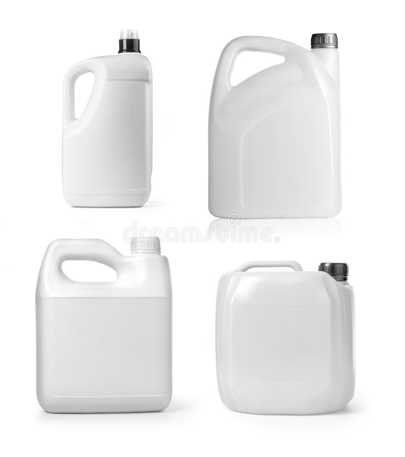 Plastic canister on white royalty free stock image