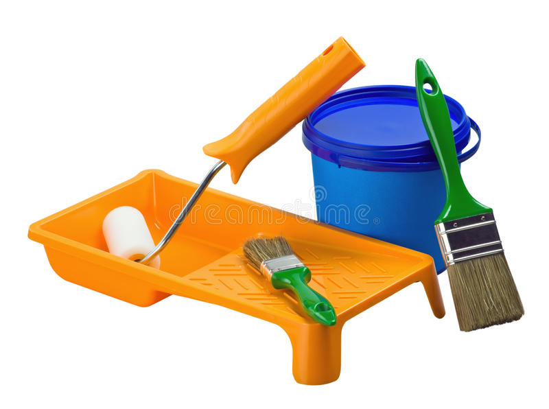 Plastic cans av målarfärg- och målningshjälpmedel arkivfoto