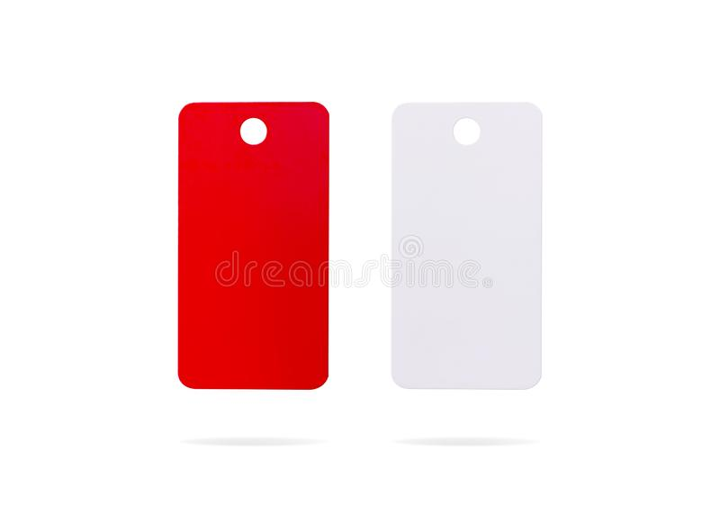 Plastic card isolated on white background. Price tag or hanging label for your design.  Clipping paths or cut out object for. Plastic card isolated on white stock photo