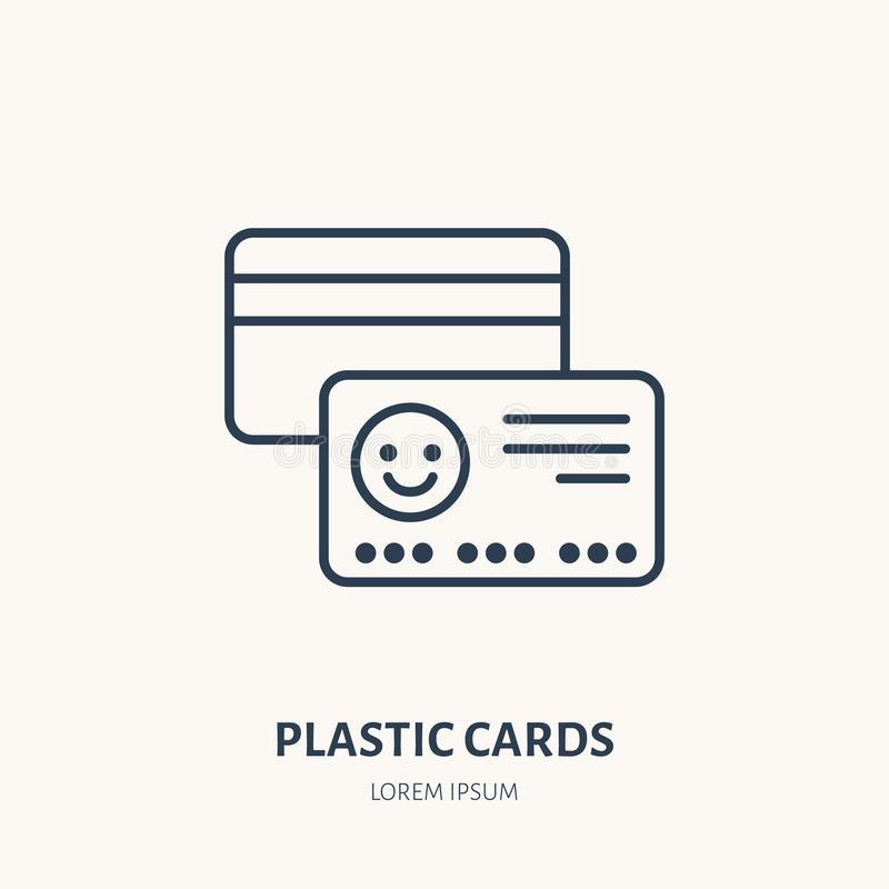 Plastic cards flat line icon. Vip, credit or gift card sign. Thin linear logo for printery, design studio vector illustration