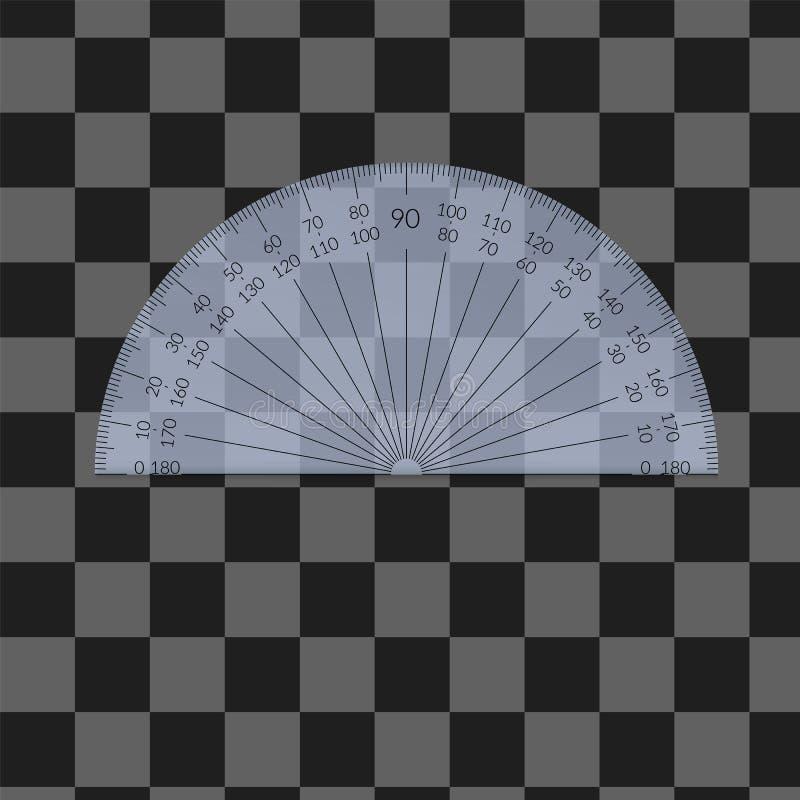 Plastic circular protractor stock photo