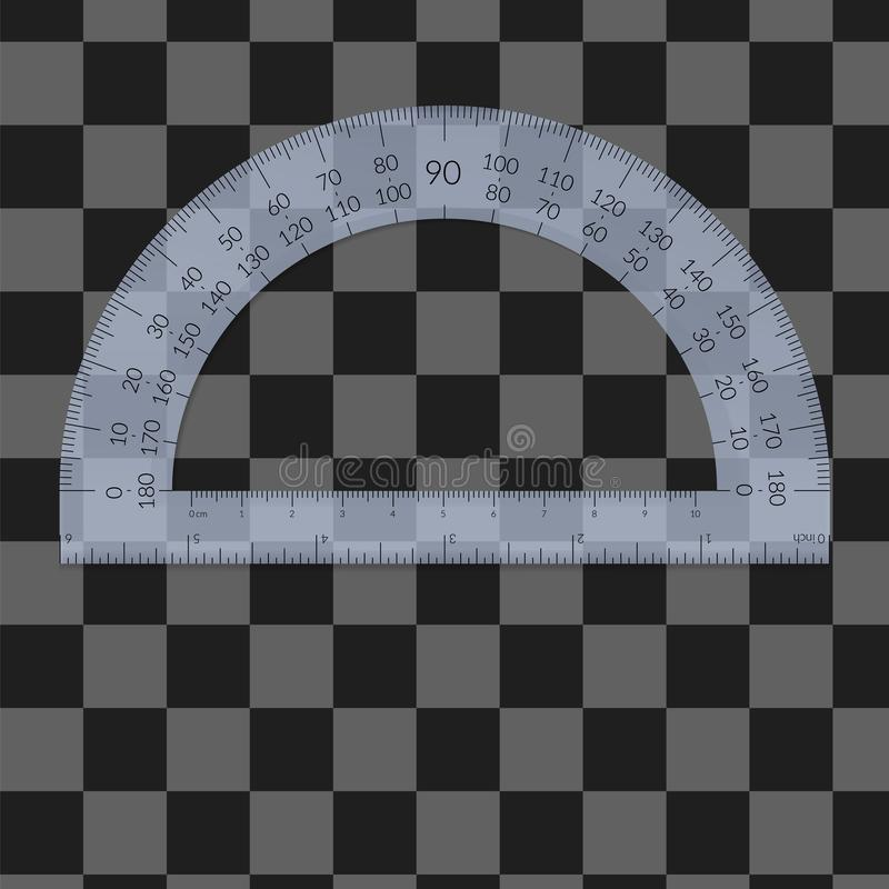 Plastic circular protractor with a ruler stock images