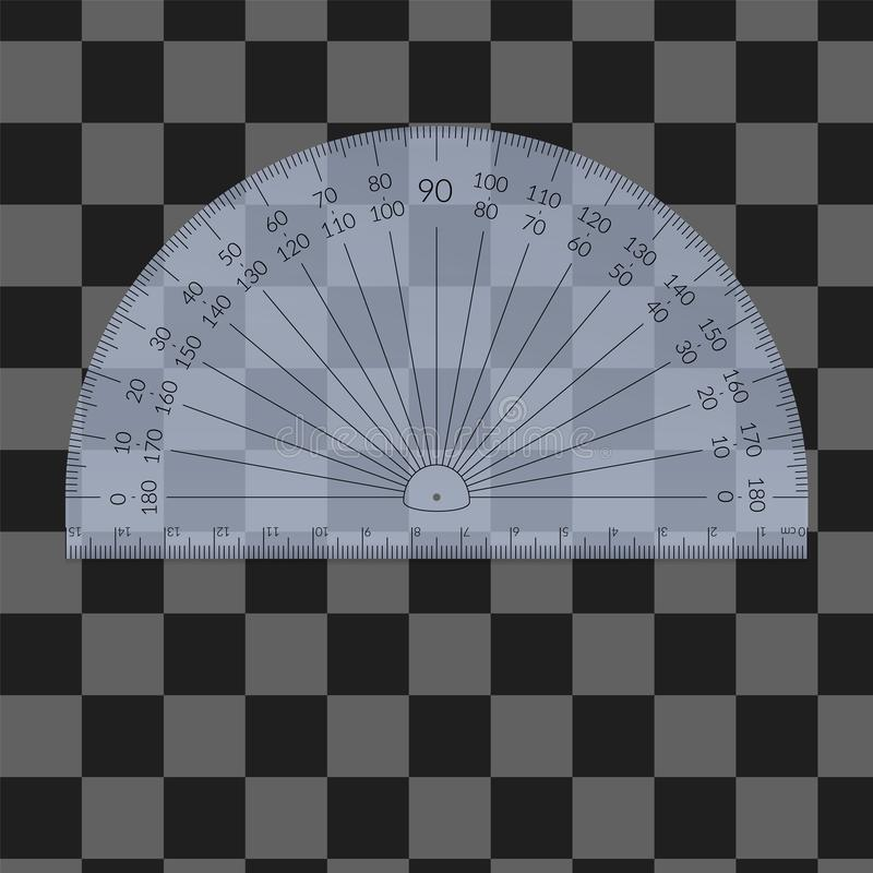 Plastic circular protractor with a ruler royalty free stock photos
