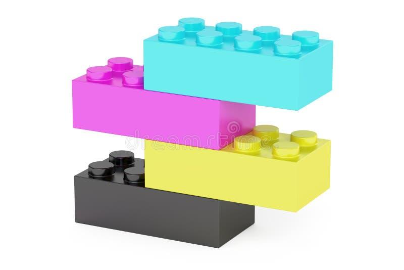Plastic cmyk toy construction blocks, 3D rendering stock illustration