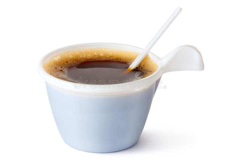 Plastic Coffee Mug With A Spoon Royalty Free Stock Photo