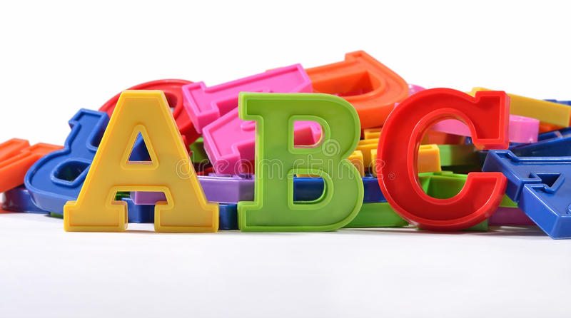 Plastic colored alphabet letters ABC royalty free stock photos
