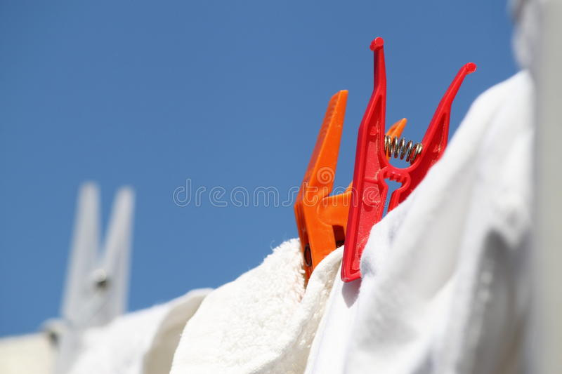 Plastic colored clips royalty free stock image