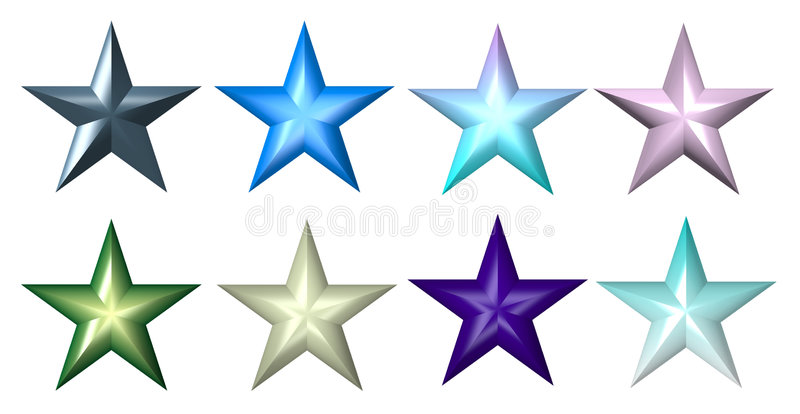 Plastic colourful 5-ray stars stock illustration