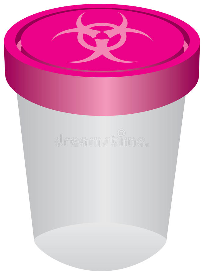 Plastic container with a biohazard symbol vector illustration