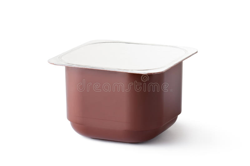 Plastic container for dairy chocolate products royalty free stock photos
