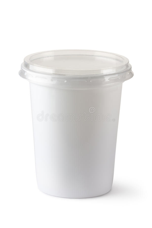 Plastic container for dairy foods stock photography