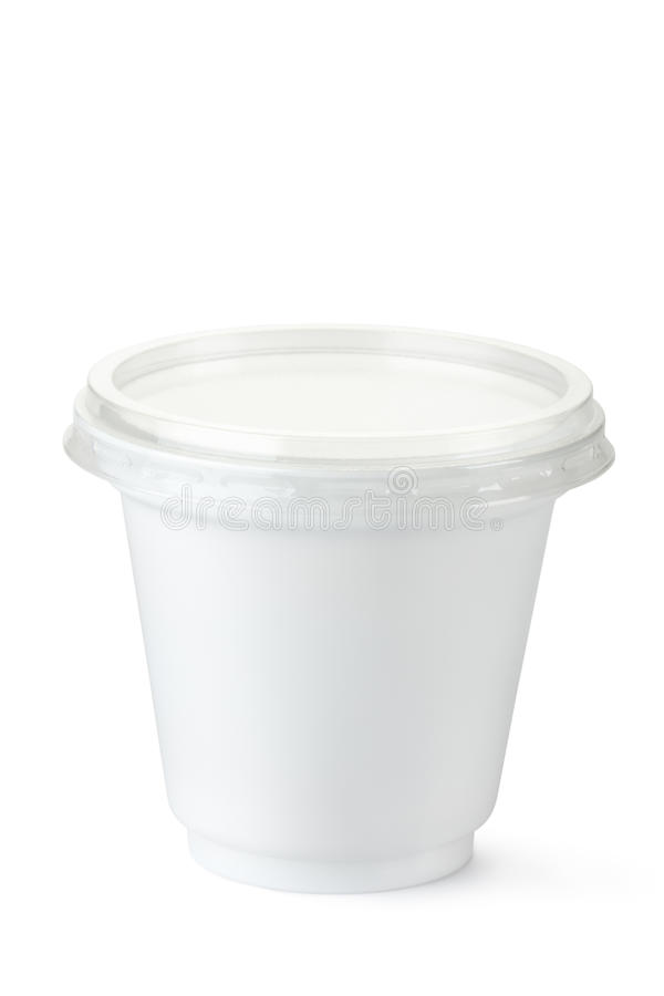 Plastic container for dairy foods royalty free stock photography