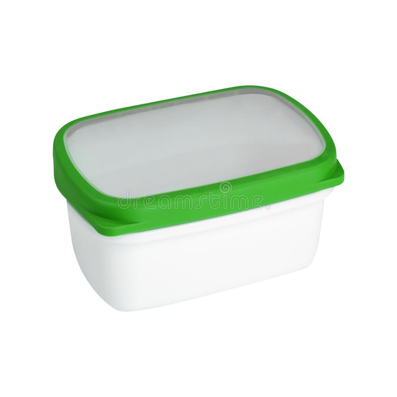 Plastic container for dairy foods Isolated royalty free stock image