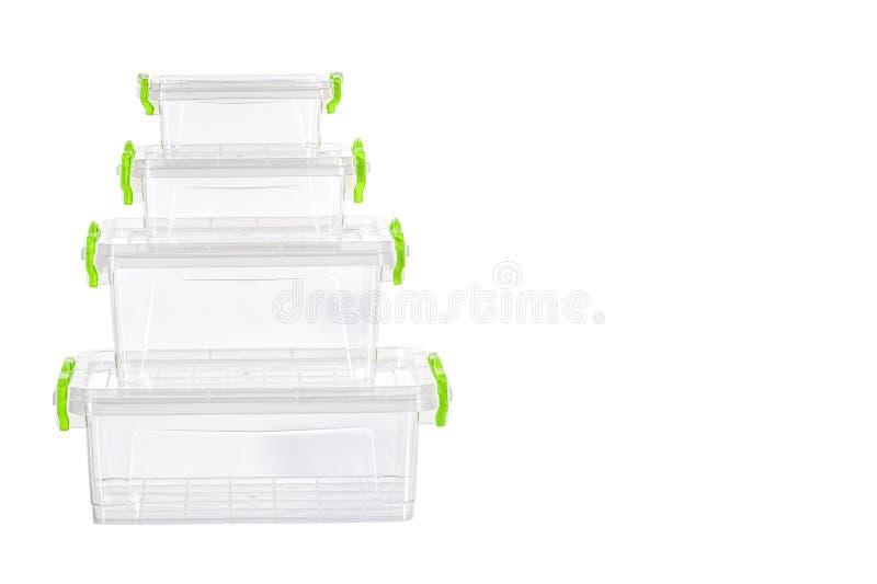 Plastic container die op witte achtergrond wordt geïsoleerd? Zulk een container is nodig in elk huishouden stock fotografie