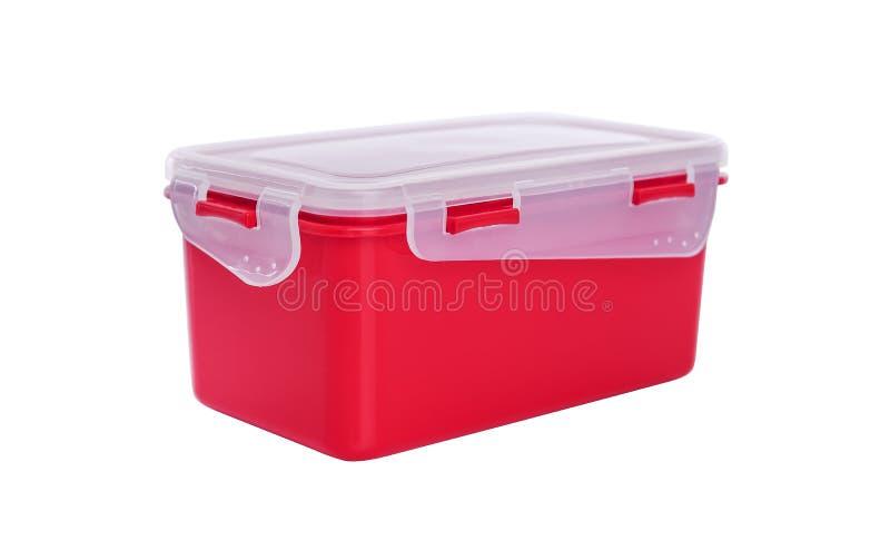 Plastic container met deksel stock afbeelding
