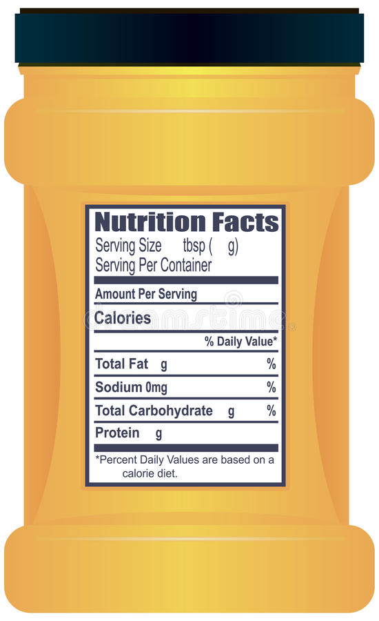 Plastic container with Nutrition Facts stock illustration