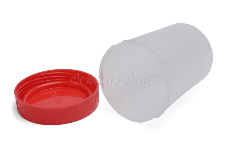 Plastic container voor medische tests met schaduw Open met deksel daarna, geïsoleerd op witte achtergrond royalty-vrije stock fotografie