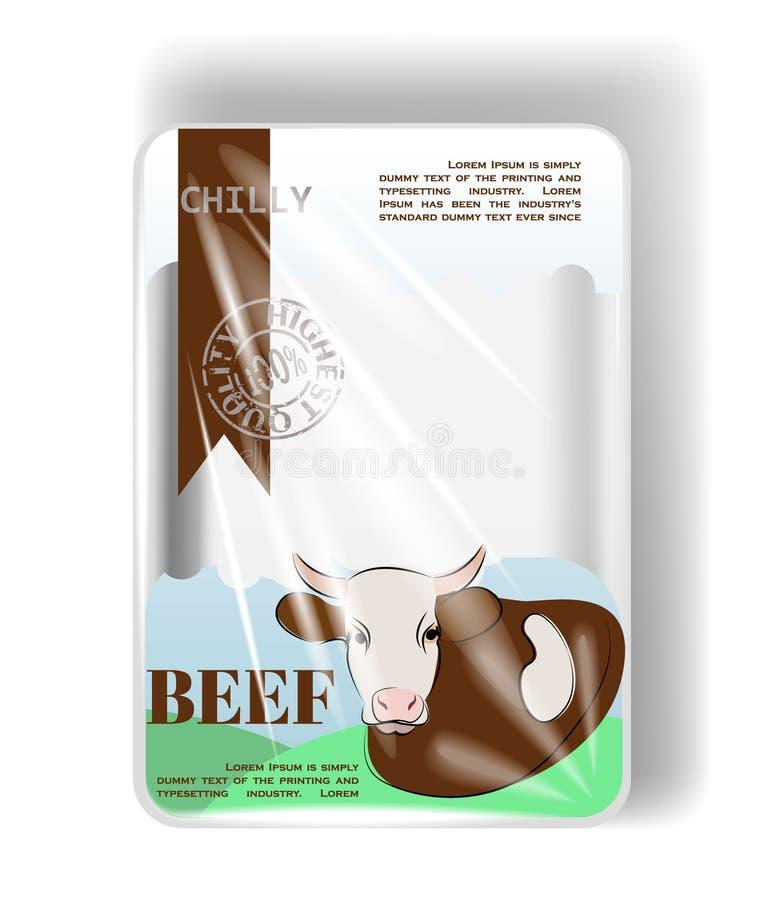 Plastic containerdienblad met cellofaandekking Voor rundvlees royalty-vrije illustratie