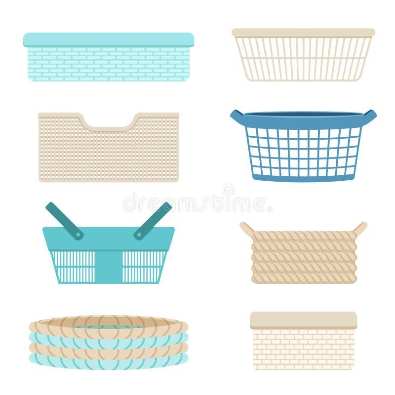 Plastic containers, lege manden voor het opslaan van wasserij en diverse dingen Vector illustratie vector illustratie