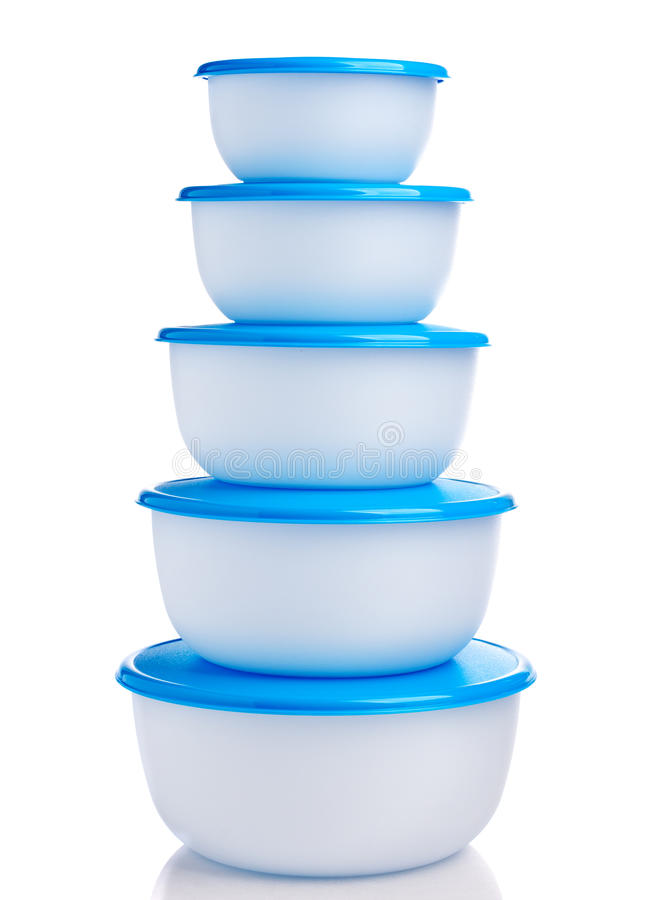 Plastic containers on white background. Pyramid made of plastic containers on white background stock images