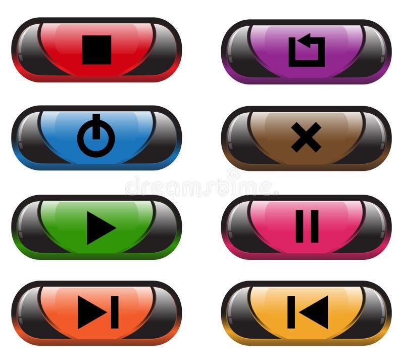 Plastic control buttons vector illustration