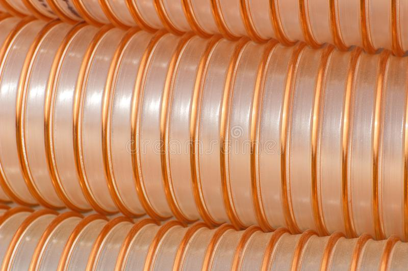 Plastic corrugated pipe for industry stock image