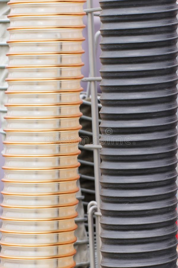 Plastic corrugated pipe, part or detail of industrial machinery royalty free stock photos