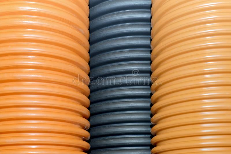 Plastic corrugated pipes for water supply, sewage, plumbing stock photo