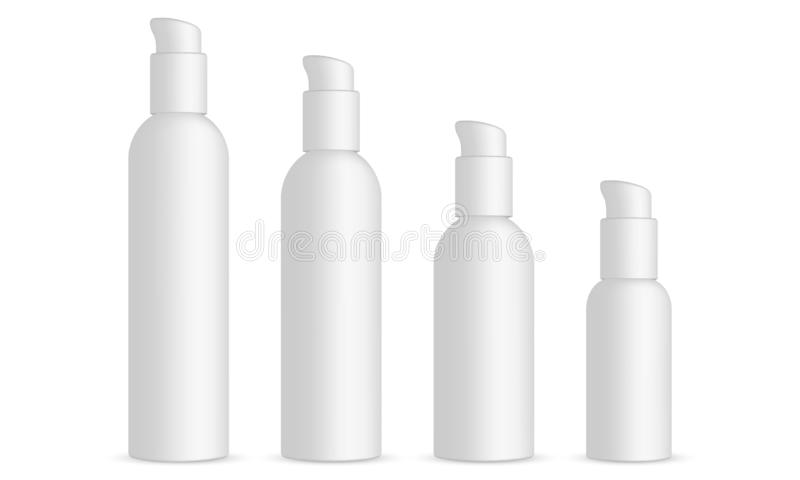 Plastic cosmetic bottles with dispenser pump royalty free illustration