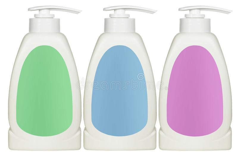 Plastic Cosmetic Bottles with Labels royalty free stock images
