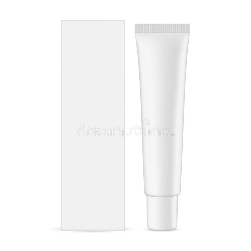 Plastic cosmetic tube with cardboard rectangular box royalty free illustration
