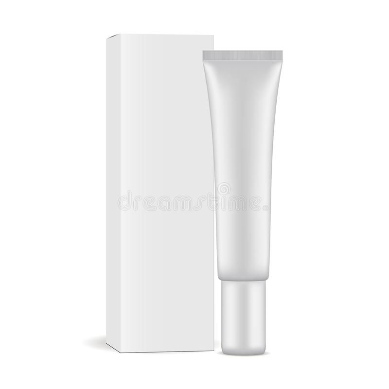 Plastic cosmetic tube with paper box stock illustration