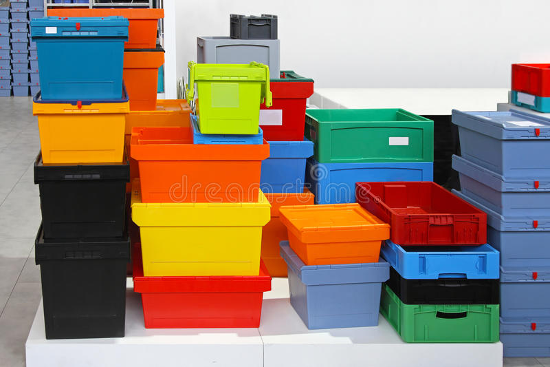 Plastic crates. Big pile of colourful plastic crates and boxes royalty free stock photo