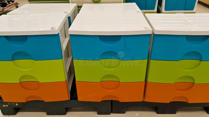 Plastic crates boxes stock photo
