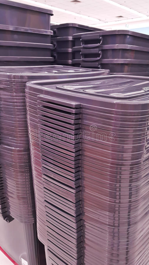 Plastic crates boxes stock photography