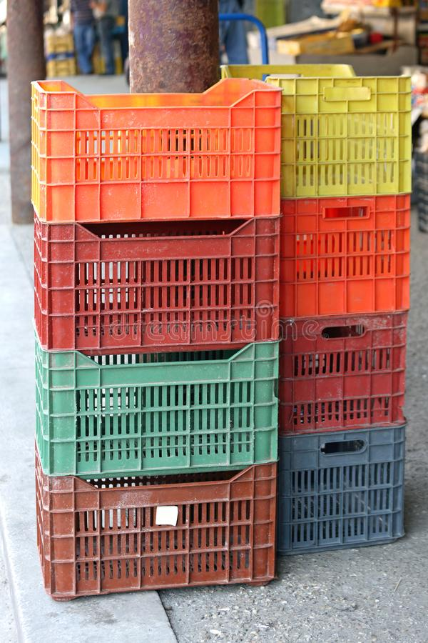 Plastic Crates. Stackable Plastic Crates for Produce at Farmers Market royalty free stock photography