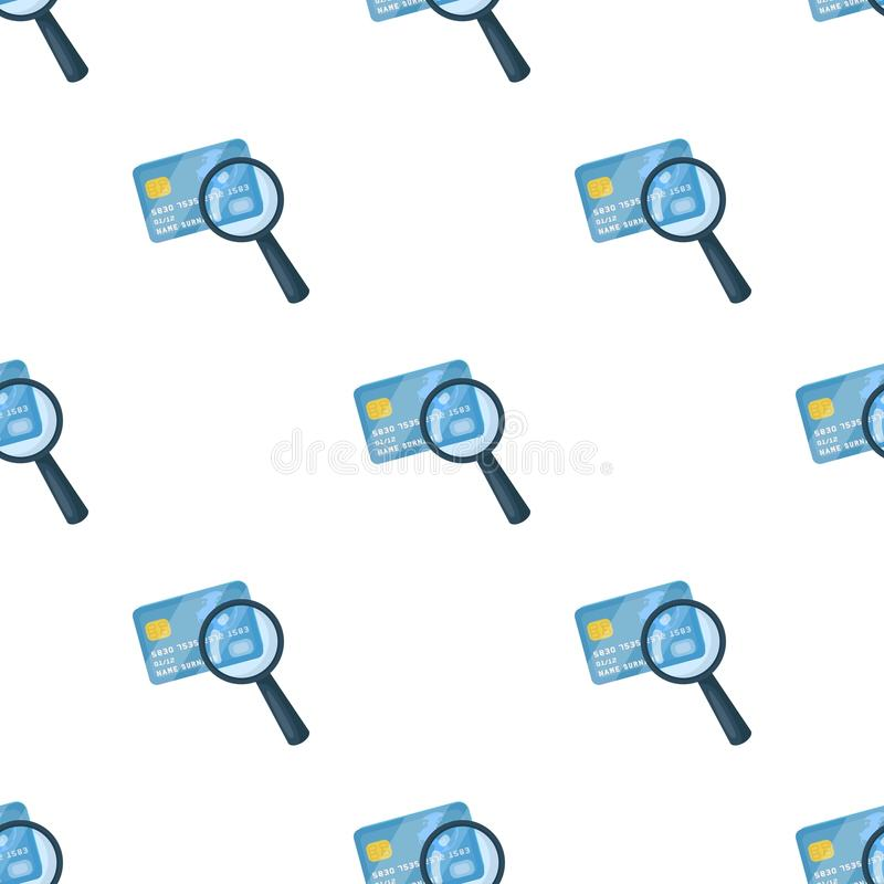 Plastic credit card with a magnifying glass. Detective looking for fingerprints.Detective single icon in cartoon style stock illustration