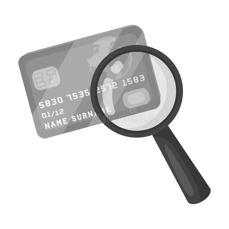 Plastic credit card with a magnifying glass. Detective looking for fingerprints.Detective single icon in monochrome stock illustration