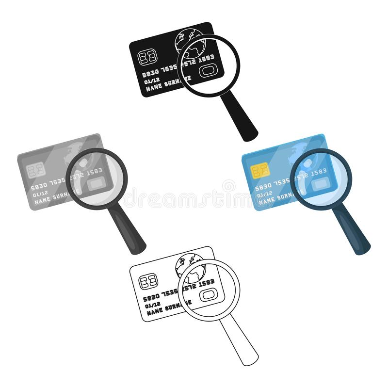 Plastic credit card with a magnifying glass. Detective looking for fingerprints.Detective single icon in cartoon,black stock illustration
