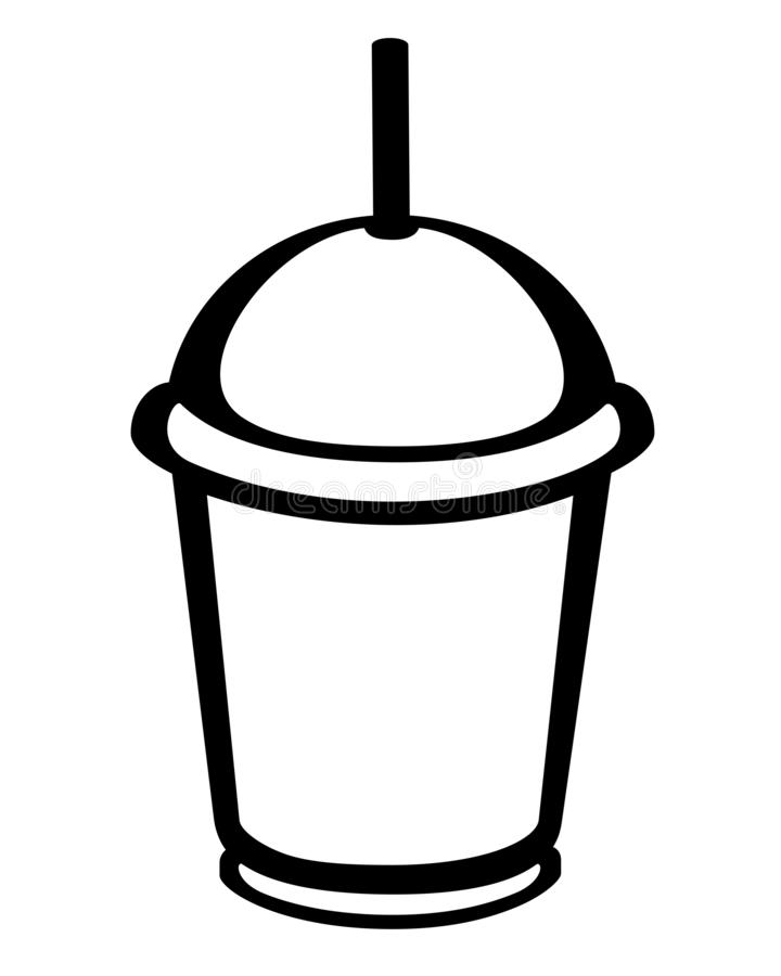 Plastic cup - logo, sign or icon. Disposable glass with a lid and a drinking straw. stock illustration