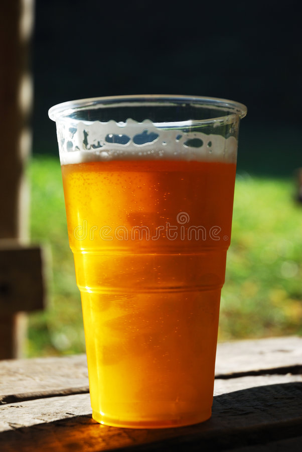 Free Plastic Cup Of Beer Stock Photography - 8113712