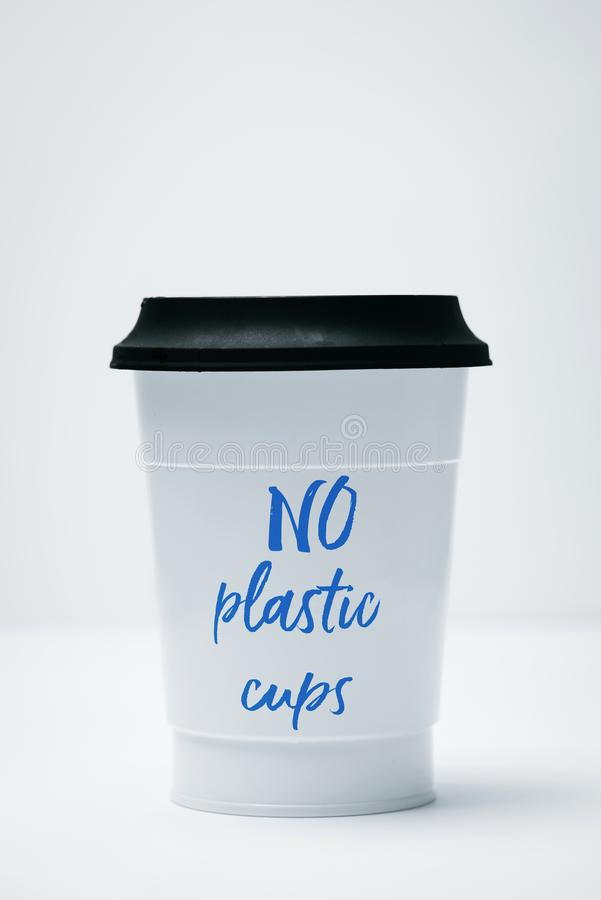 Plastic cup and text no plastic cups royalty free stock photos