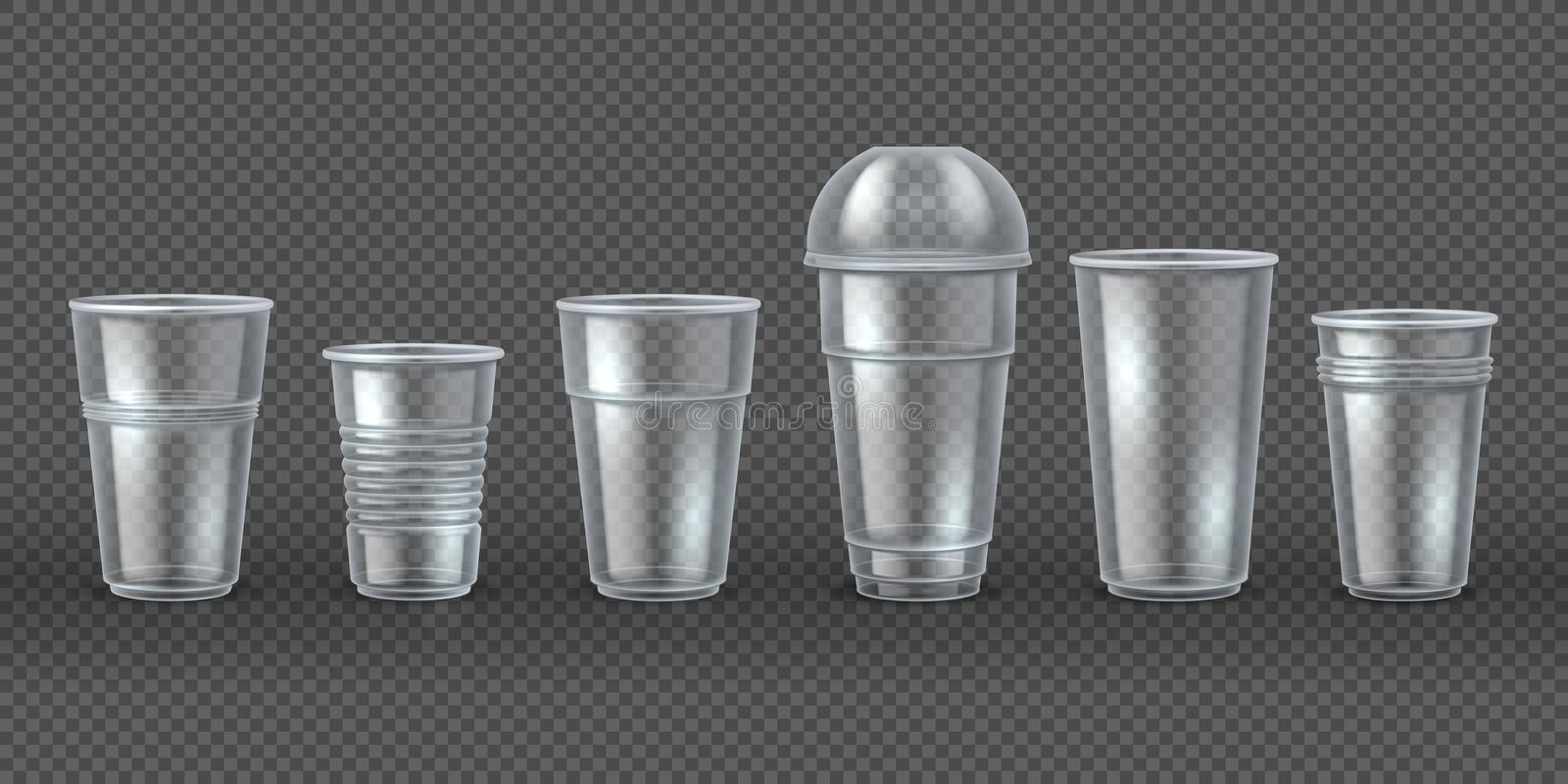 Plastic cups. Disposal coffee drink mugs isolated mockup, realistic 3D packaging for food and beverages. Vector royalty free illustration