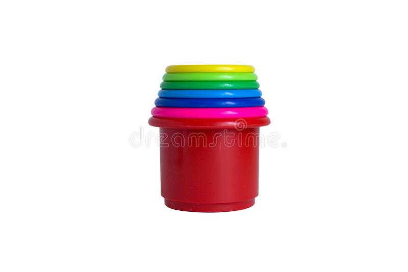 Plastic cups are folded into a pyramid royalty free illustration