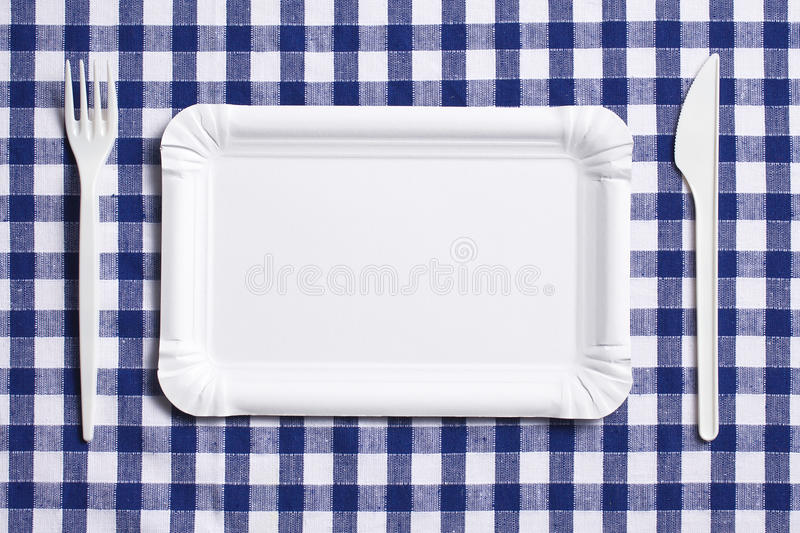 Download Plastic Cutlery On Checkered Tablecloth Stock Photo - Image: 17679546