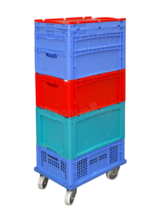 Plastic delivery boxes royalty free stock images