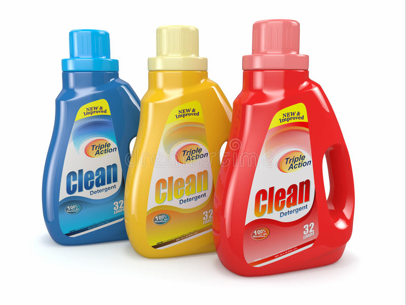 Plastic Detergent Bottles Cleaning Products Stock