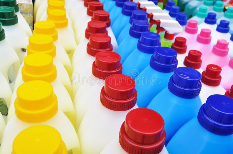 Plastic detergent bottles - cleaning products stock photo