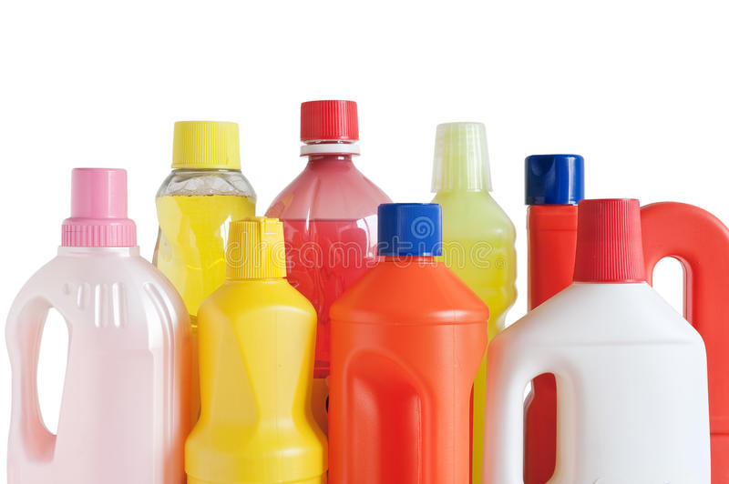 Plastic detergent flessen stock afbeeldingen