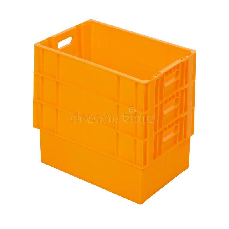 Plastic die dozen op wit worden geïsoleerd stock foto